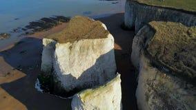 Rocas hermosas de la bahía y de la tiza de la botánica en Inglaterra desde arriba almacen de video