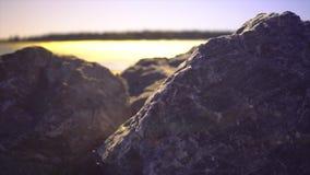 Rocas a lo largo de la orilla almacen de video