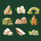 Rocas naturales de la frente de diversos elementos del diseño del paisaje de la colección de la forma para el juego de destello Imagen de archivo libre de regalías