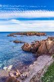 Rocas rojas de Esterel Riviera Macizo-francesa, Francia Imagen de archivo libre de regalías