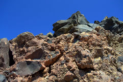 Rocas volcánicas, isla de Nea Kameni, Grecia Imagen de archivo