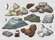 Rocas y elementos de las piedras ilustración del vector