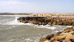 Rocas y mar de la playa almacen de video