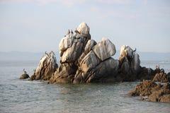 Rocas y pelícanos blancos en el océano Imagen de archivo libre de regalías