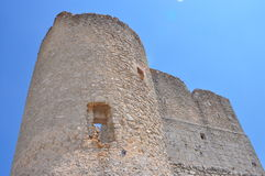 Rocca Calascio. Calascio castle. The tower XI  century in the midle of the castle. Royalty Free Stock Photos