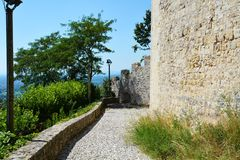Rocca castle and medieval walls in Asolo, Italy Royalty Free Stock Images