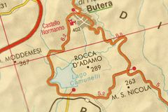 Rocca Dadamo. Map. The islands of Sicily, Italy. Rocca Dadamo. Map. The islands of Sicily, Italy royalty free stock images