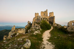 Rocca di Calascio - imposing medieval castle ruins in Abruzzo. Italy Royalty Free Stock Images