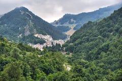 Rocca Pia L ` Aquila, Abruzzi, Włochy: panoramiczny widok zdjęcie stock