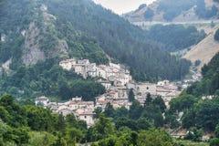 Rocca Pia L ` Aquila, Abruzzi, Włochy: panoramiczny widok obraz royalty free