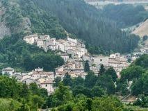 Rocca Pia L ` Aquila, Abruzzi, Włochy: panoramiczny widok zdjęcia stock