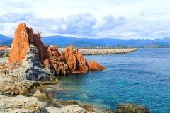 Rocca Rossa在Arbatax,撒丁岛 免版税库存照片