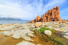 Rocca Rossa在Arbatax,撒丁岛 库存照片