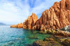 Rocca Rossa in Arbatax, Sardinige Stock Afbeelding