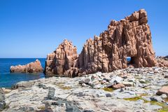 Rocca Rossa on Sardinia Island, Italia Stock Photos