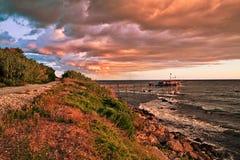 Rocca SAN Giovanni, Chieti, Abruzzo, Ιταλία: Αδριατική παραλία Στοκ εικόνα με δικαίωμα ελεύθερης χρήσης