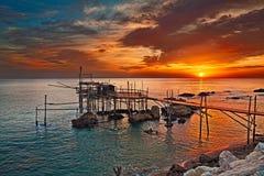 Rocca San Giovanni, Chieti, Abruzzo, Italy: Adriatic sea coast w. Rocca San Giovanni, Chieti, Abruzzo, Italy: Adriatic sea coast at dawn with an ancient fishing Stock Photos
