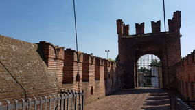 Rocca Sforzesca - Soncino Castle in Cremona Italy. Picture taken inside the walls of the Rocca Sforzesca. Italian medieval castle architecture in Soncino Royalty Free Stock Photos