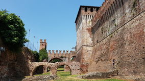 Rocca Sforzesca - Soncino Castle in Cremona Italy. Picture taken inside the walls of the Rocca Sforzesca. Italian medieval castle architecture in Soncino Royalty Free Stock Images