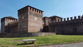 Rocca Sforzesca - Soncino Castle in Cremona Italy. Picture taken outside the walls of the Rocca Sforzesca. Italian medieval castle architecture in Soncino Stock Image