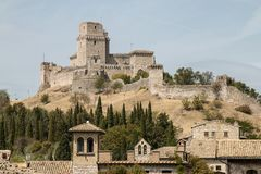Roccaen Maggiore Assisi Royaltyfria Bilder