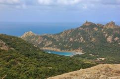 Roccapina,可西嘉岛海岛狮子岩石  库存图片