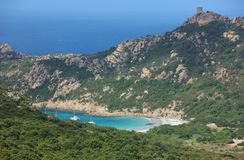 Roccapina beach, Corsica island. Roccapina wild beach in the south of Corsica island, located in a small bay. Lion rock. France Stock Images