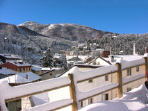Roccaraso onder de sneeuw Stock Fotografie