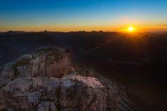 Rocce accese del sole di tramonto Immagini Stock