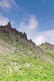 Rocce Craggy sul vulcano attivo nel Giappone Fotografia Stock