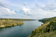 Rocce del fiume di Dnieper Fotografia Stock