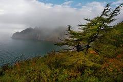 Rocce del mare di Okhotsk vicino alla città di Magadan immagine stock libera da diritti