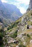 Rocce della montagna con un piccolo fiume Immagini Stock Libere da Diritti