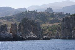 Rocce della montagna Zingaro di dello di Riserva sicily L'Italia fotografia stock