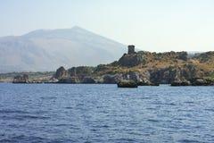 Rocce della montagna Zingaro di dello di Riserva sicily L'Italia immagini stock