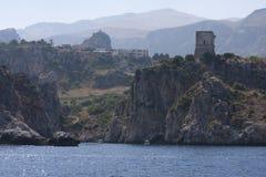 Rocce della montagna Zingaro di dello di Riserva sicily L'Italia fotografie stock libere da diritti