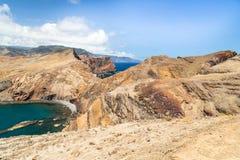 Rocce della zona orientale del Madera nel pomeriggio droughty di estate Immagine Stock Libera da Diritti