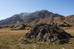 Rocce nei paesaggi delle montagne di Altai, Repubblica di Altai Immagine Stock