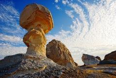 Rocce nel deserto bianco Fotografie Stock