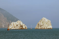 Rocce nel Mar Nero Fotografia Stock