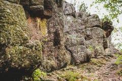 Rocce nella foresta nelle alpi Italia di un giorno piovoso Fotografia Stock Libera da Diritti