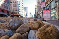 Rocce nella via a Los Angeles del centro fotografia stock libera da diritti
