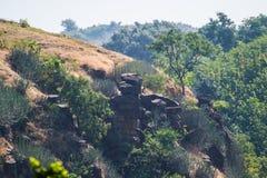 Rocce o massi d'equilibratura Mandu Mandav Madhya Pradesh fotografie stock