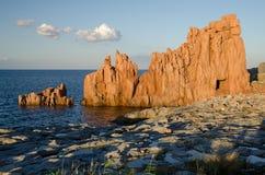 Rocce Rosse, Arbatax,撒丁岛 免版税库存照片