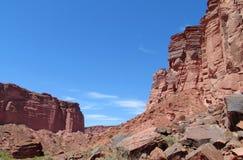 Rocce rosse del canyon di Talampaya Immagini Stock