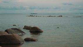 Rocce sulla costa di mare stock footage