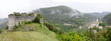 Rocchette village and ruined castle Royalty Free Stock Images