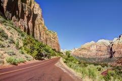 Roccia, alberi, carreggiata Zion National Park Immagine Stock Libera da Diritti