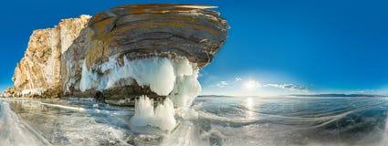 Roccia cilindrica di panorama 360 sull'isola di Olkhon sul lago Baikal Fotografia Stock