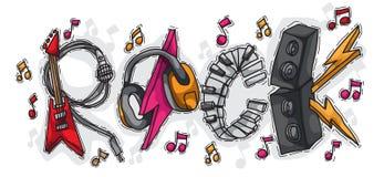Roccia composta di strumenti musicali con stile disegnato a mano Fotografia Stock